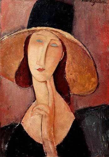 pinturas-de-retratos - Quadro -Retrato de Jeanne Hebuterne con pamela- - Modigliani, Amedeo