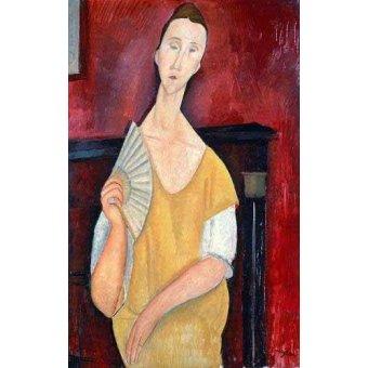 - Quadro -Mujer con abanico- - Modigliani, Amedeo