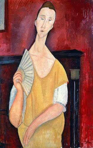 cuadros de retrato - Cuadro -Mujer con abanico- - Modigliani, Amedeo