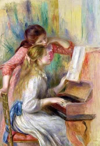 cuadros de retrato - Cuadro -Jovencitas al piano- - Renoir, Pierre Auguste