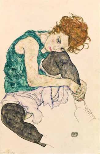 cuadros de retrato - Cuadro -Seated Woman with Bent Knee- - Schiele, Egon