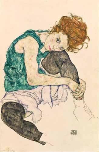 pinturas-de-retratos - Quadro -Seated Woman with Bent Knee- - Schiele, Egon