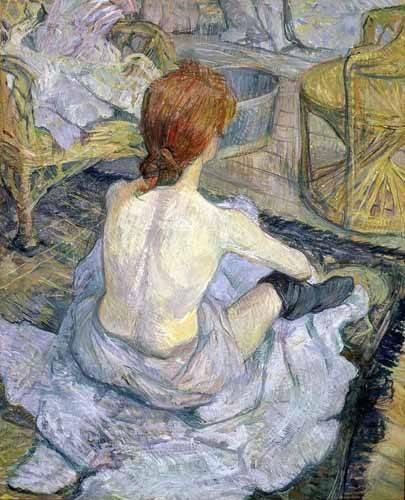 pinturas-de-retratos - Quadro -Mujer en su baño- - Toulouse-Lautrec, Henri de