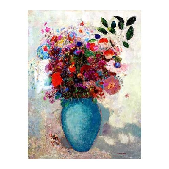 cuadros de flores - Cuadro -El jarrón turquesa-