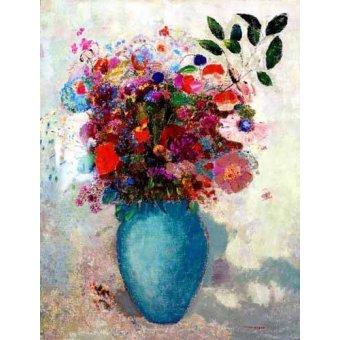 quadros de flores - Quadro -El jarrón turquesa- - Redon, Odilon