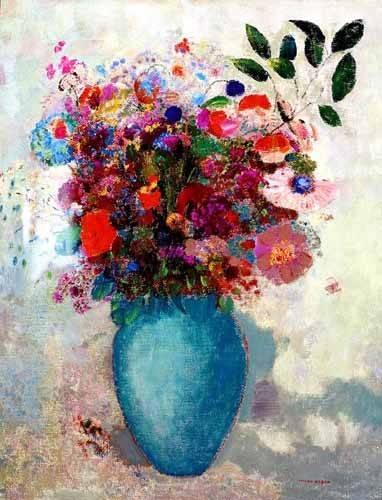 cuadros de flores - Cuadro -El jarrón turquesa- - Redon, Odilon