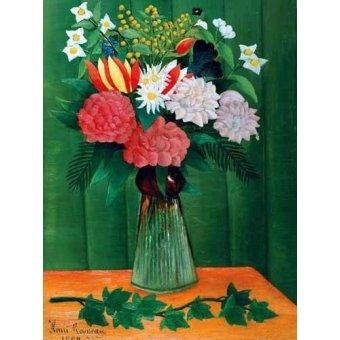 quadros de flores - Quadro -Flores en un jarrón- - Rousseau, Henri