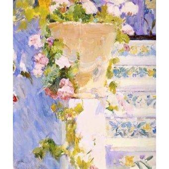 quadros de flores - Quadro -Jardín de la casa del artista X- - Sorolla, Joaquin