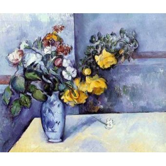 quadros de flores - Quadro -Flores del campo en un jarrón- - Cezanne, Paul
