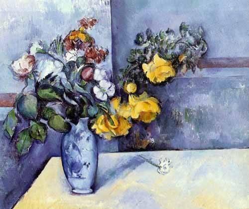 quadros-de-flores - Quadro -Flores del campo en un jarrón- - Cezanne, Paul