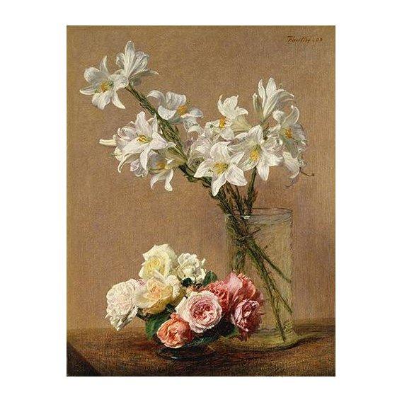 cuadros de flores - Cuadro -Rosas y Lilas-
