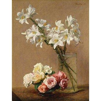 quadros de flores - Quadro -Rosas y Lilas- - Fantin Latour, Henri