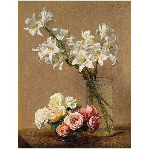 imagens de flores - Quadro -Rosas y Lilas-