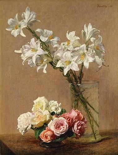 cuadros de flores - Cuadro -Rosas y Lilas- - Fantin Latour, Henri