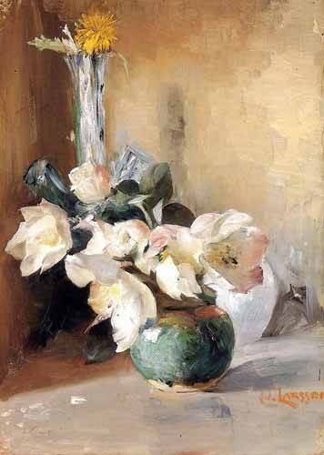cuadros de flores - Cuadro -Rosas de Navidad- - Larsson, Carl