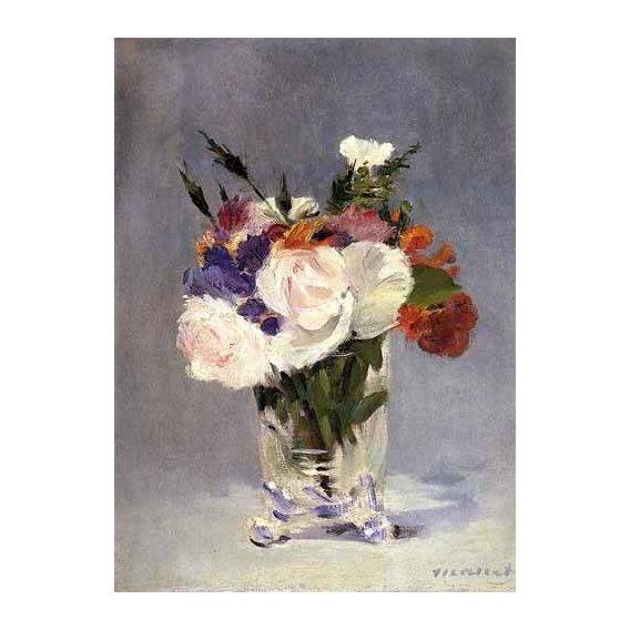 imagens de flores - Quadro -Flores en un jarrón de cristal-