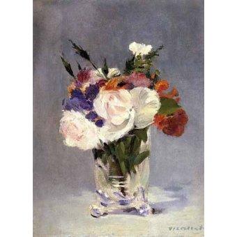 quadros de flores - Quadro -Flores en un jarrón de cristal- - Manet, Eduard