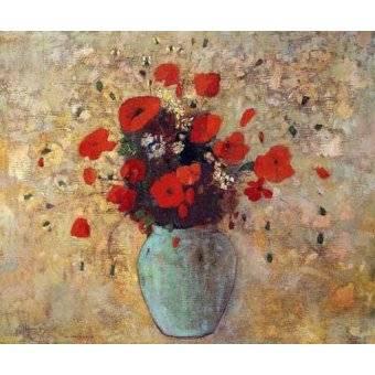 quadros de flores - Quadro -Jarrón de amapolas- - Redon, Odilon