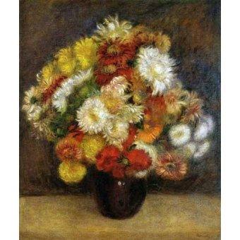 quadros de flores - Quadro -Ramo de Crisantemos- - Renoir, Pierre Auguste