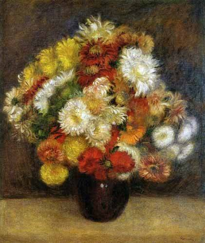 quadros-de-flores - Quadro -Ramo de Crisantemos- - Renoir, Pierre Auguste
