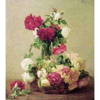 quadros de flores - Quadro -Cesta e vaso de rosas- - Fantin Latour, Henri