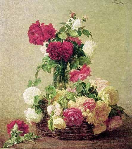 quadros-de-flores - Quadro -Cesta e vaso de rosas- - Fantin Latour, Henri