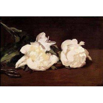 quadros de flores - Quadro -Rama de peonías blancas y podadera- - Manet, Eduard