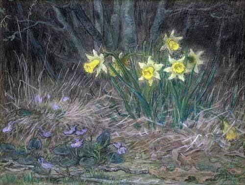 cuadros de flores - Cuadro -Narcisos y Violetas- - Millet, Jean François