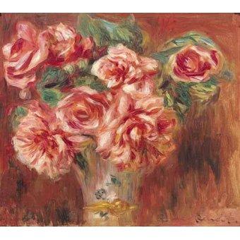 quadros de flores - Quadro -Rosas en un jarrón- - Renoir, Pierre Auguste
