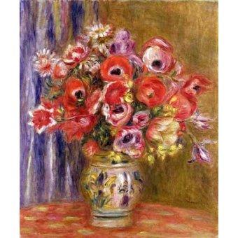 quadros de flores - Quadro -Jarrón de tulipanes y anémonas- - Renoir, Pierre Auguste