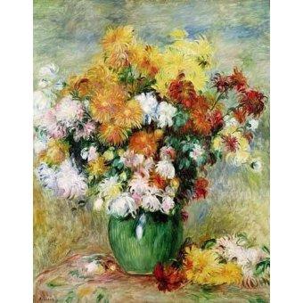 quadros de flores - Quadro -Buquê de crisântemo- - Renoir, Pierre Auguste