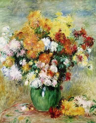 quadros-de-flores - Quadro -Bouquet de Crisantemos- - Renoir, Pierre Auguste