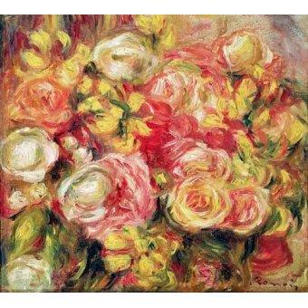 quadros de flores - Quadro -Rosas 1915- - Renoir, Pierre Auguste