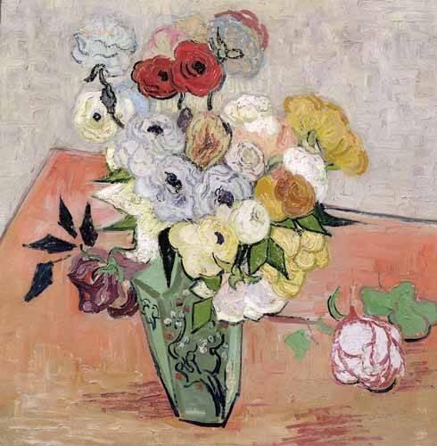 quadros-de-flores - Quadro -Rosas y Anémonas- - Van Gogh, Vincent