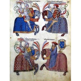 imagens de mapas, gravuras e aquarelas - Quadro -Libro de los caballeros de Santiago-2- - _Anónimo Español