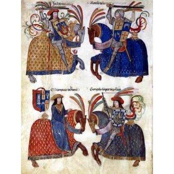 imagens de mapas, gravuras e aquarelas - Quadro -Libro de los caballeros de Santiago-3- - _Anónimo Español