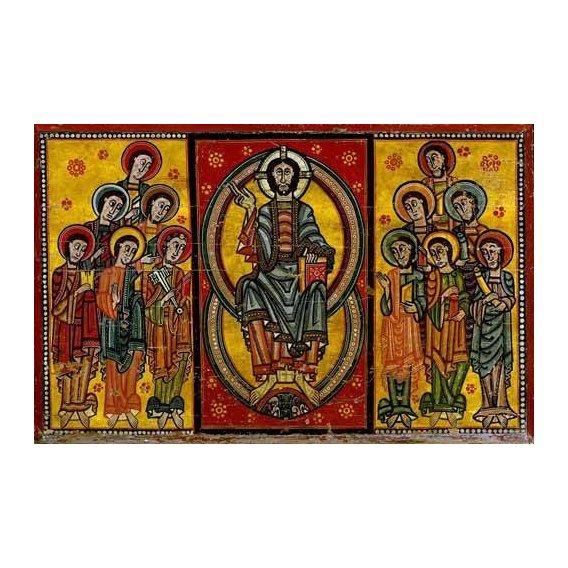 cuadros de mapas, grabados y acuarelas - Cuadro -Pantocrator y Apóstoles-
