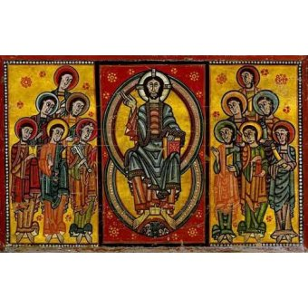 cuadros de mapas, grabados y acuarelas - Cuadro -Pantocrator y Apóstoles- - _Anónimo Español