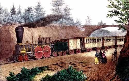 imagens-de-mapas-gravuras-e-aquarelas - Quadro -El tren expresso- - Currier Nathaniel y Ives James