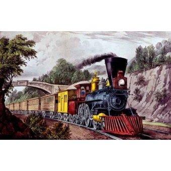 cuadros de mapas, grabados y acuarelas - Cuadro -Tren rápido- - Currier Nathaniel y Ives James