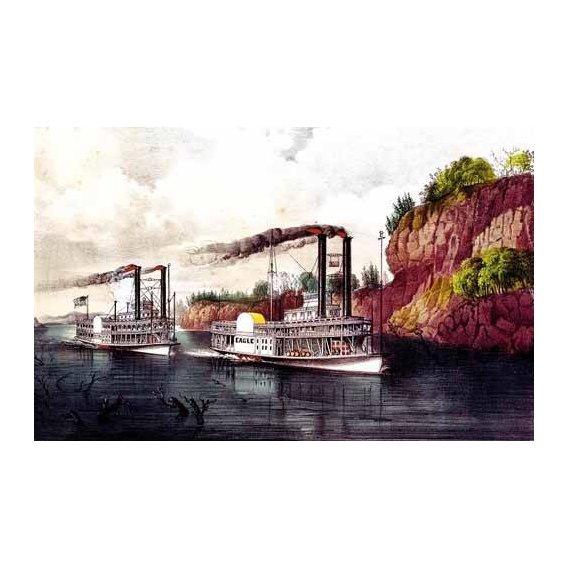 cuadros de mapas, grabados y acuarelas - Cuadro -Carrera de barcos de vapor en el Mississipi-