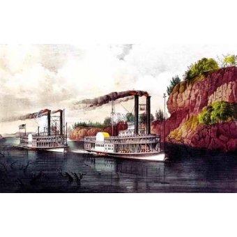 cuadros de mapas, grabados y acuarelas - Cuadro -Carrera de barcos de vapor en el Mississipi- - Currier Nathaniel y Ives James