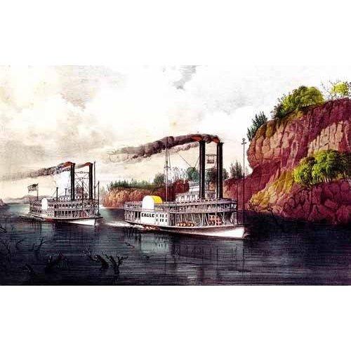 imagens de mapas, gravuras e aquarelas - Quadro -Carrera de barcos de vapor en el Mississipi-