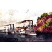 Quadro -Carrera de barcos de vapor en el Mississipi-