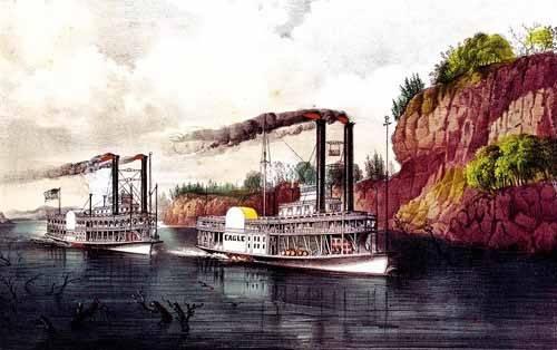 imagens-de-mapas-gravuras-e-aquarelas - Quadro -Carrera de barcos de vapor en el Mississipi- - Currier Nathaniel y Ives James