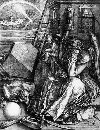 imagens-de-mapas-gravuras-e-aquarelas - Quadro -Melancolía I- - Dürer, Albrecht (Albert Durer)