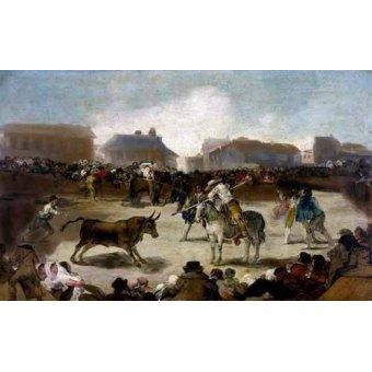imagens de mapas, gravuras e aquarelas - Quadro -Toros en un pueblo- - Goya y Lucientes, Francisco de