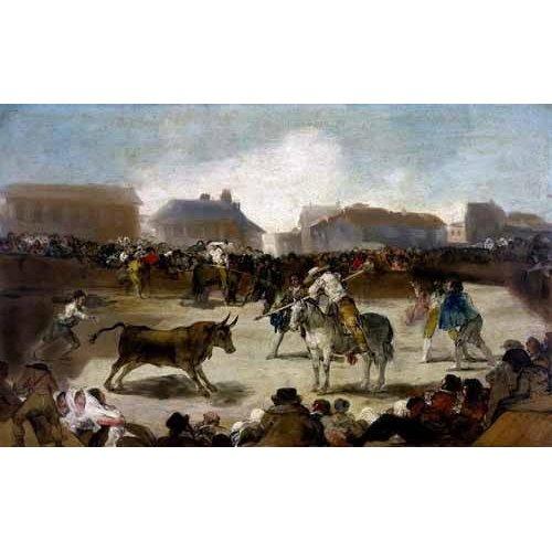 cuadros de mapas, grabados y acuarelas - Cuadro -Toros en un pueblo-