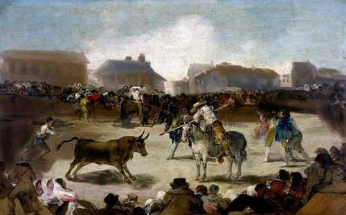 imagens-de-mapas-gravuras-e-aquarelas - Quadro -Toros en un pueblo- - Goya y Lucientes, Francisco de