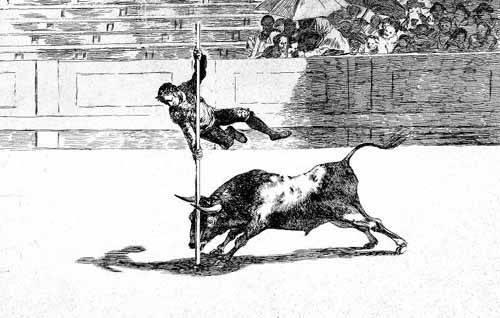 cuadros de mapas, grabados y acuarelas - Cuadro -Tauromaquia num. 20: Ligereza y atrevimiento- - Goya y Lucientes, Francisco de